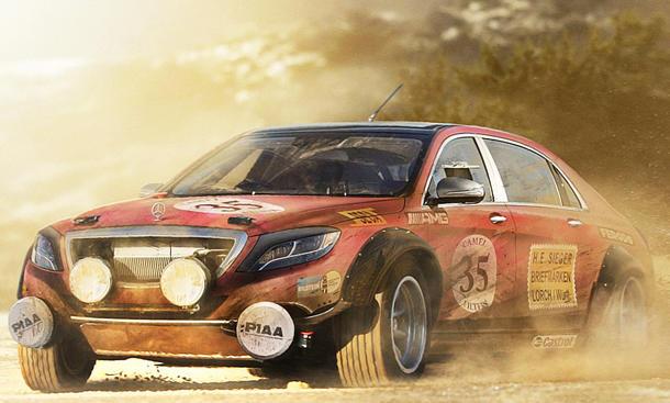Mercedes s klasse als rallye auto illustration for Rallye mercedes benz