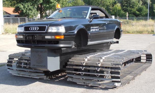 Audi Cabriolet als Pistenraupe