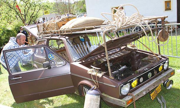 VW Golf 1 mit viel Holz auf dem GTI-Treffen 2016