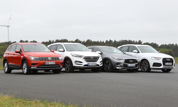 VW Tiguan/Hyundai Tucson/Infiniti Q30/Audi Q3: Vergleich