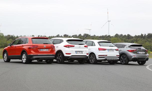 VW Tiguan/Hyundai Tucson/Audi Q3/Infiniti Q30: Vergleich