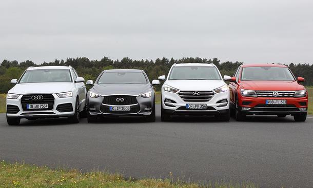 Audi Q3/Infiniti Q30/Hyundai Tucson/VW Tiguan: Vergleich